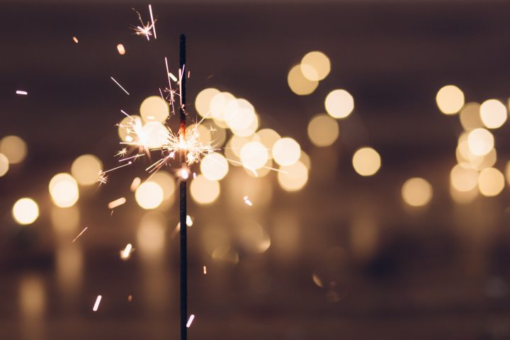 close up of a sparkler in the dark